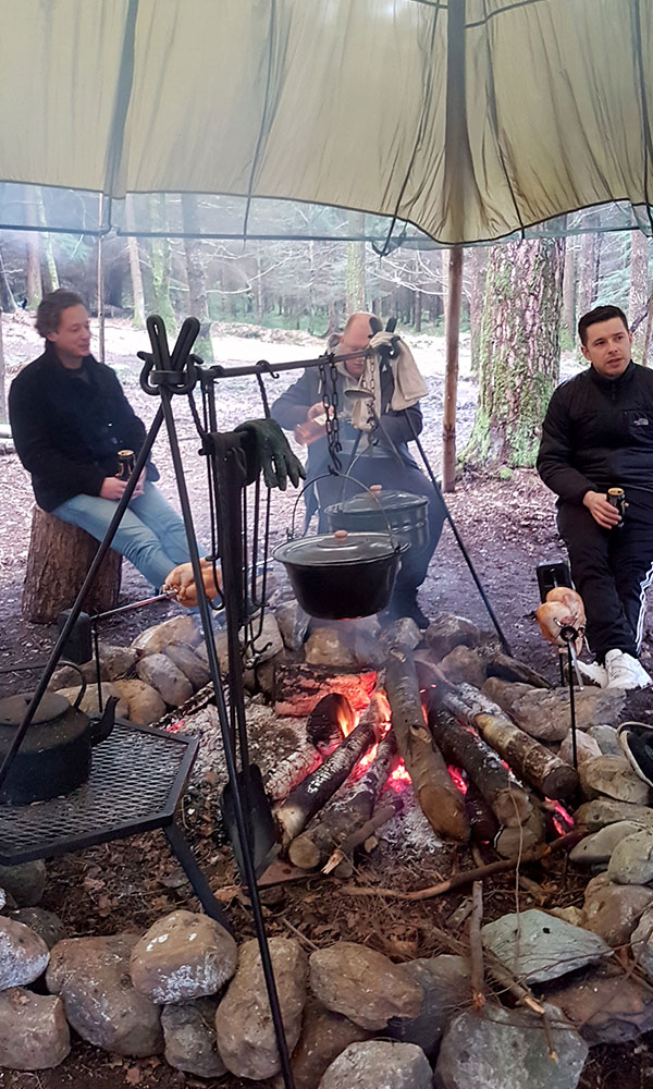 lads around a fire